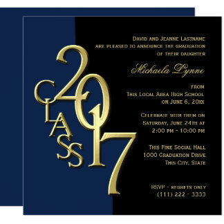Class of 2017 Graduation Blue and Gold Card