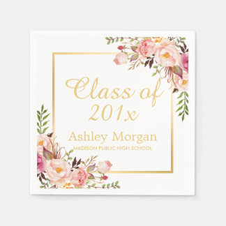 Class of 2017 Graduation Elegant Gold Chic Floral Disposable Napkin