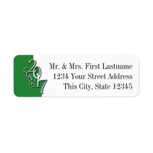 Class of 2017 Graduation Green Silver Return Address Label