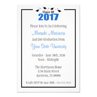 Class Of 2017 Graduation Invitation (Blue Caps)