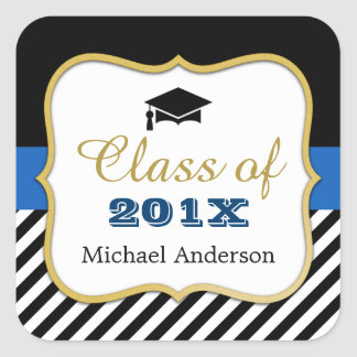 Class of 2017 Graduation Modern Gold Navy Stripes Square Sticker