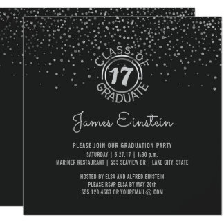 Class of 2017 Graduation Party | Black Silver Dots Card