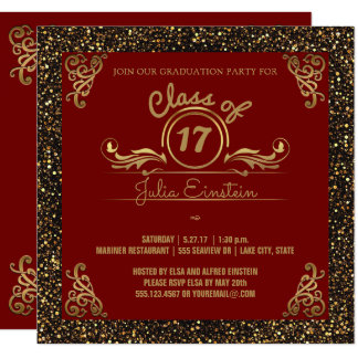 Class of 2017 Graduation Party | Chic Gold Glitter Card