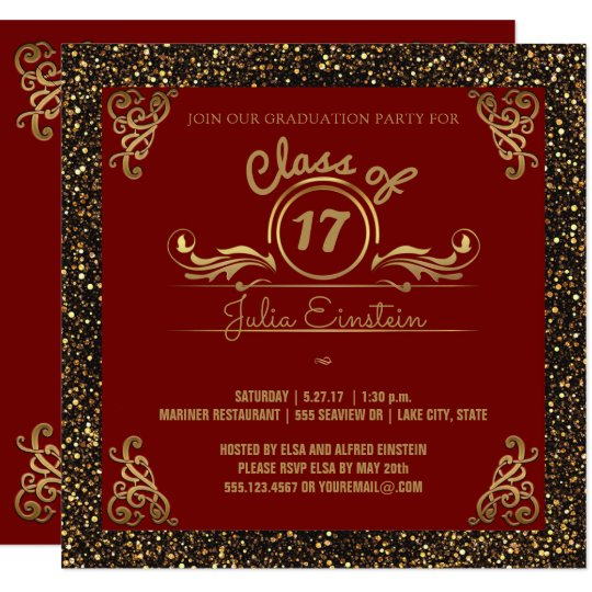 Class of 2017 Graduation Party   Chic Gold Glitter Card