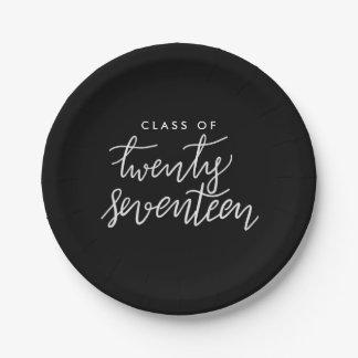 Class Of 2017 Handwritten Script Graduate Paper Plate