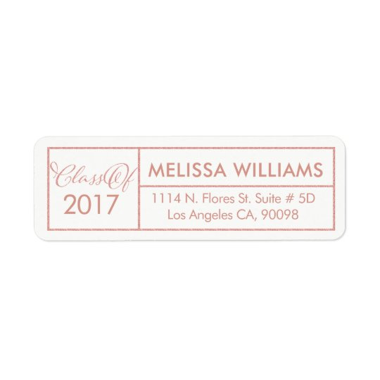 Class Of 2017 Modern Geometric Rose-Gold Frame Return Address Label