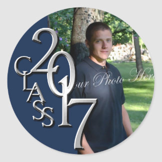 Class of 2017 Navy Blue and SilverGraduation Photo Classic Round Sticker