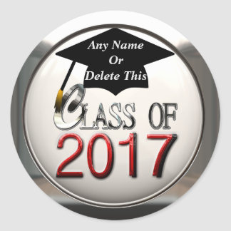 Class Of 2017 Red & Silver Graduation Stickers