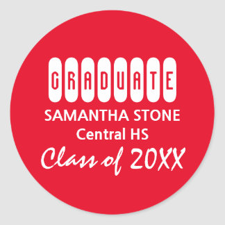 Class of 2017 Red & White Graduation Envelope Seal