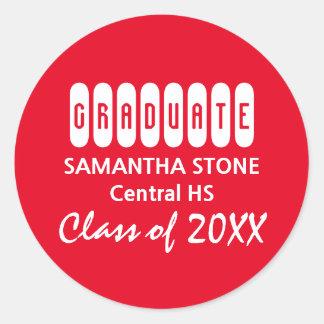 Class of 2017 Red & White Graduation Envelope Seal Round Sticker