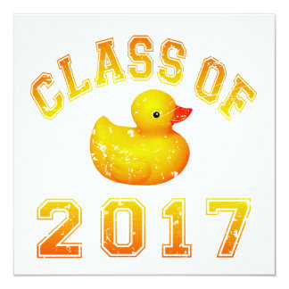 Class of 2017 Rubber Duckie 5.25x5.25 Square Paper Invitation Card