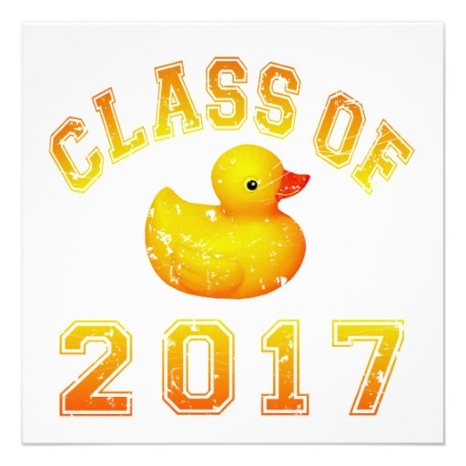 Class Of 2017 Rubber Duckie - Yellow/Red 2 Invitations