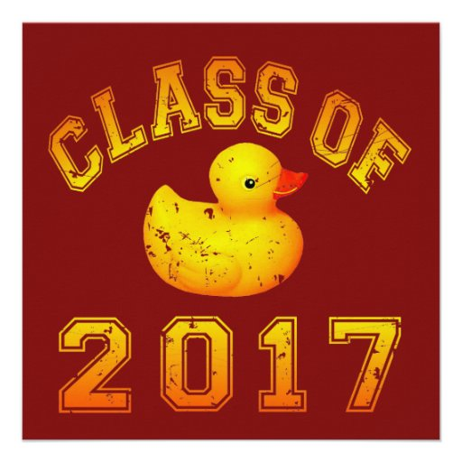 Class Of 2017 Rubber Duckie - Yellow/Red 2 Custom Invitations