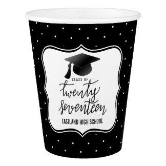 Class Of 2017 Script Black Hat | Polka Dots Black Paper Cup