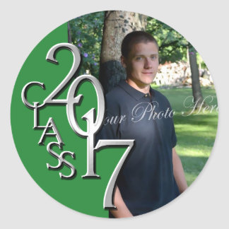 Class of 2017 Silver Green personalized photo Classic Round Sticker