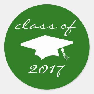 Class Of 2017 Sticker (Green Graduation Cap)