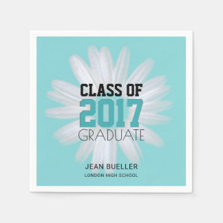 Class of 2017 Teal Daisy | Custom Graduation Party Disposable Napkins