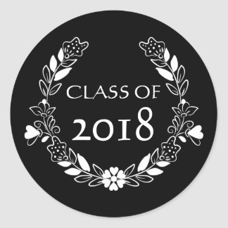 Class Of 2018 Black And White Graduation Classic Round Sticker