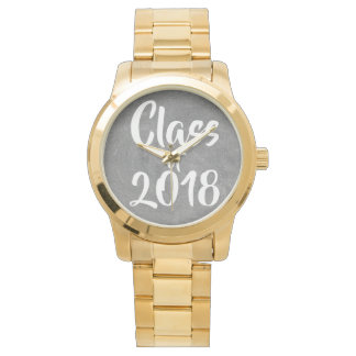 Class of 2018 Black White Chalkboard Typography Watch