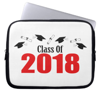 Class Of 2018 Caps And Diplomas (Red) Laptop Sleeve