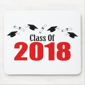 Class Of 2018 Caps And Diplomas (Red) Mouse Pad