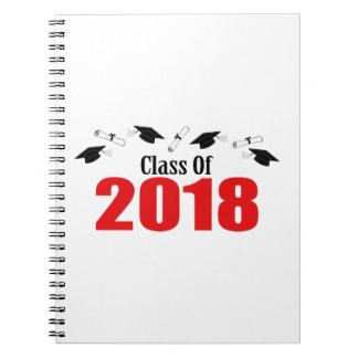 Class Of 2018 Caps And Diplomas (Red) Notebook