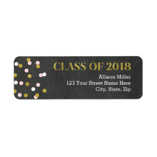 Class of 2018 Chalkboard Gold Pink Address Labels