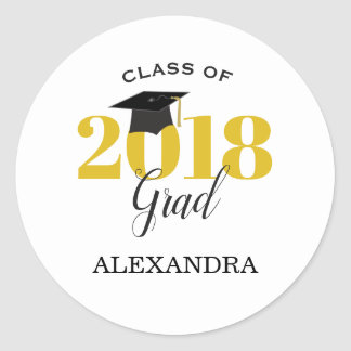 Class of 2018   Gold and Black Classic Round Sticker