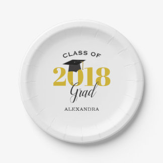 Class of 2018 Grad | Gold and Black Paper Plate