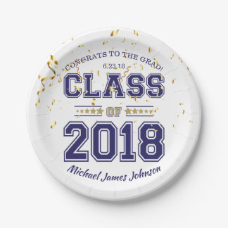 Class of 2018 Grad Party Blue and Gold Paper Plate