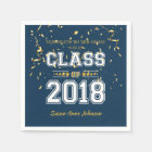 Class of 2018 Grad Party  Blue and Yellow Paper Napkin