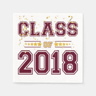 Class of 2018 Grad Party  Burgundy and Yellow Napkin