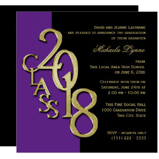 Class of 2018 Grad Purple and Gold Card
