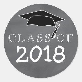Class Of 2018 Graduation Cap Chalkboard Classic Round Sticker