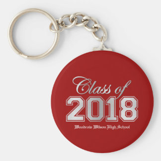 Class of 2018 Graduation Key-Chain - Red & Silver Keychain