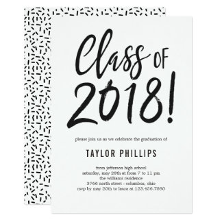 Class of 2018 Graduation Party Invitation Brushed