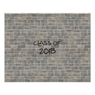 """Class of 2018 Gray Brick """"Write On My Wall"""" Poster"""