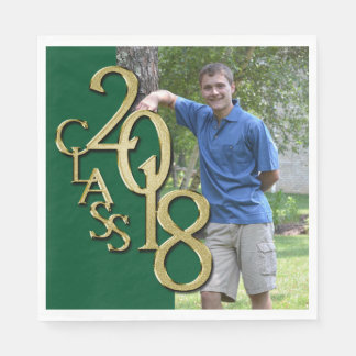 Class of 2018 Green and Gold Grad Photo Paper Napkin