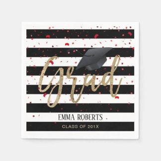 Class of 2018 Modern Stripes Graduation Disposable Napkin
