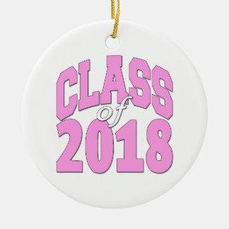 Class of 2018 pink ceramic ornament