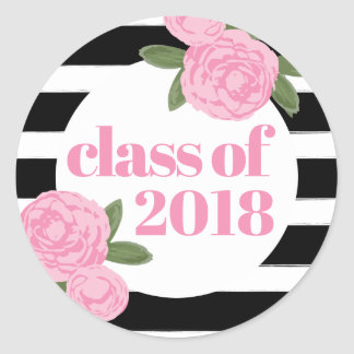 Class of 2018 Pink Roses Black + White Stripe Classic Round Sticker