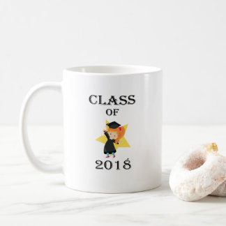 Class of 2018 Red Haired Girl Cap and Gown Star Coffee Mug