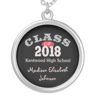 Class Of 2018 Red Silver Plated Necklace