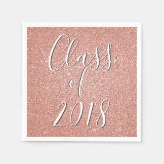 Class of 2018 Rose Gold - Blush Pink Glitter Napkin