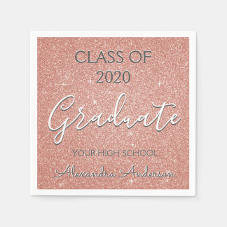 Class of 2018 Rose Gold - Blush Pink Glitter Paper Napkin