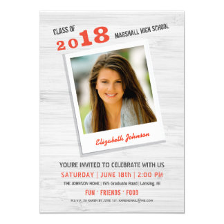 Class of 2018 Rustic Wood Photo Graduation Party Card