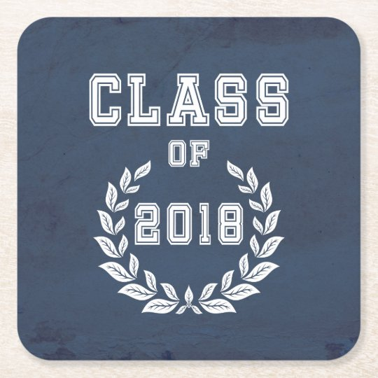 Class of 2018 square paper coaster