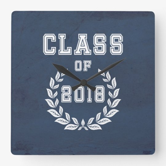 Class of 2018 square wall clock