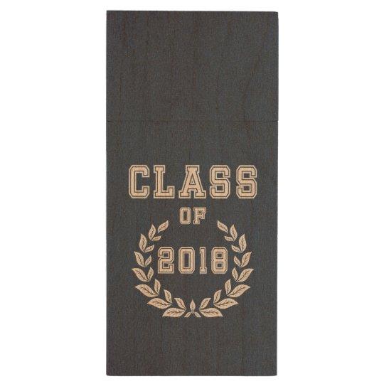 Class of 2018 wood USB flash drive