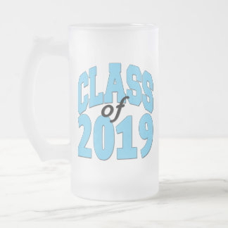 Class of 2019 blue frosted glass beer mug